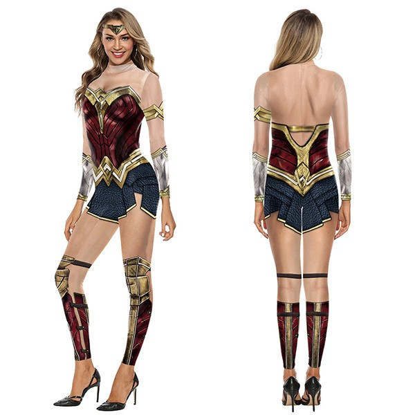 5eb0ef95f8f4c Wonder Women Girl Cosplay Bodysuit X-Men Team Superhero Marvel Printed  Halloween Costumes