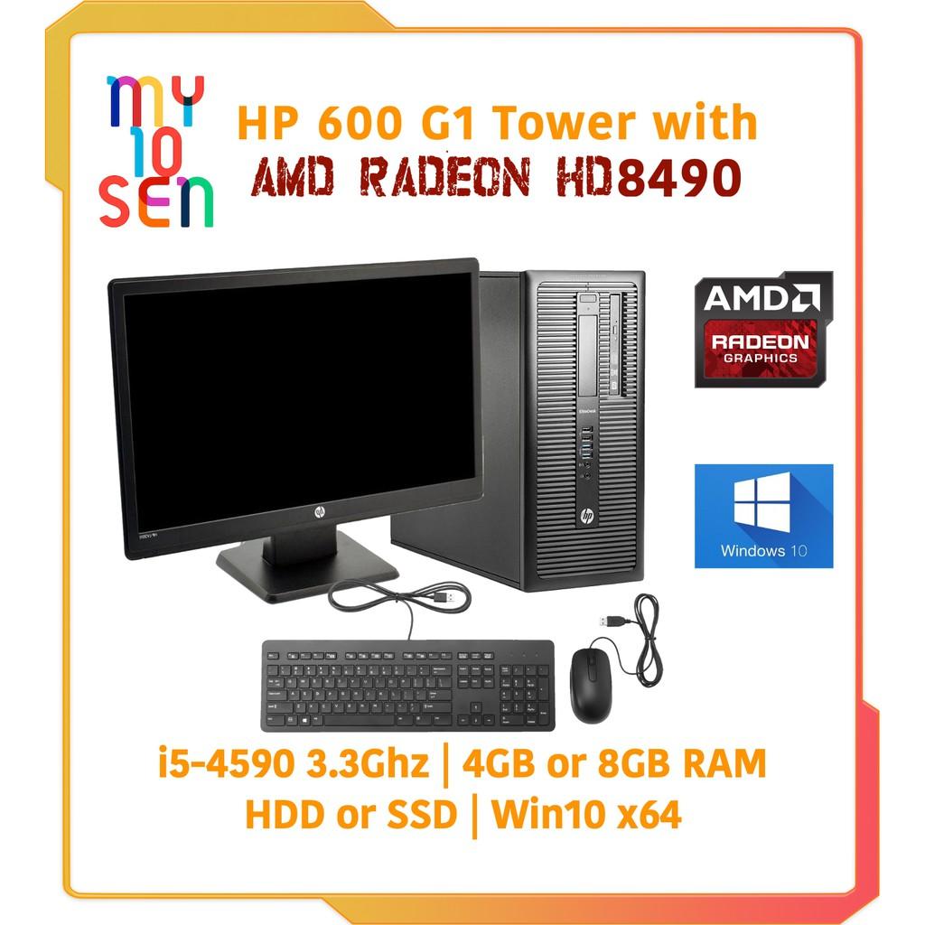 HP Prodesk i5 4th Gen 4590 Tower 8GB DDR3 SSD HDD Win 10 & AMD Radeon 8490  & 20