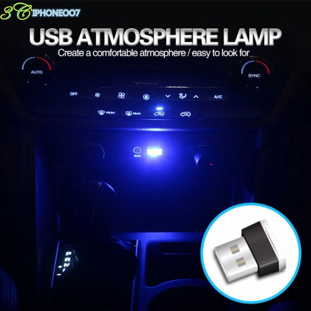 Yellow Mini USB LED Car Light Neon Atmosphere Decorative Ambient Lamp Accessory