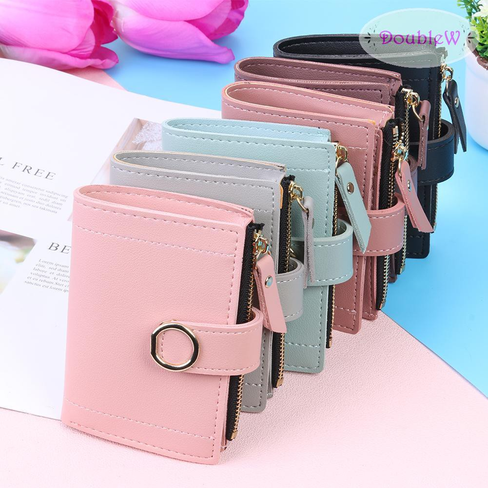 Cute Snap Zipper Clutch Women Bifold Money Purse Solid Color Leather Card Holder