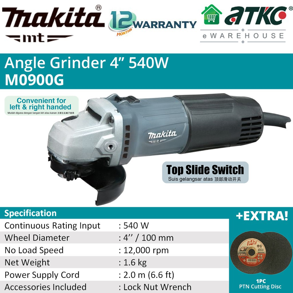 """MAKITA M0900G Angle Grinder 4"""" 540W Without Handle"""