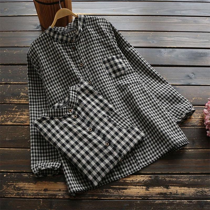 ZANZEA Womens Loose Long Sleeve Check Button Blouse