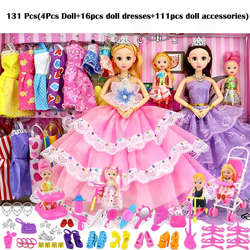 f5593fa73ae 6 Pcs Family Pregnant Doll Mom Baby Dad Kids Barbie Dolls Set   Shopee  Malaysia