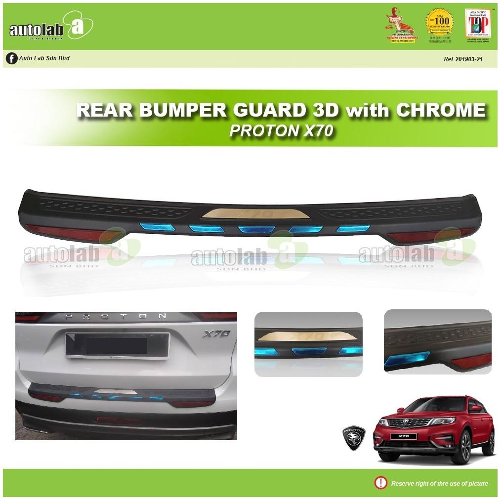 Rear Bumper Guard 3D with Chrome Proton X70