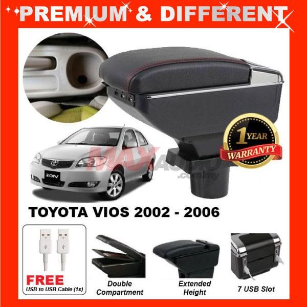 [FREE GIFT Gift] TOYOTA VIOS 2003 - 2007 COMFORT ADJUSTABLE ARMREST 7 USB PORT