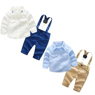 07fe93f8 fashion baby boy clothing set long sleeve shirt+suspender gentleman clothes  suit | Shopee Malaysia