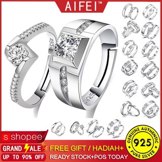 138d52445f 📣READY STOCK📣 2PCS Pure 925 Couple Ring Sterling Silver Best Gift For  Wedding