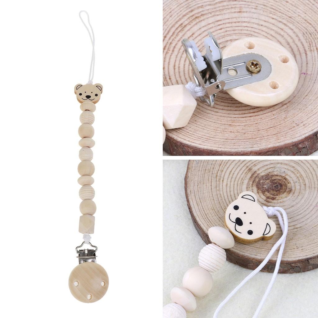 ❤Baby Dummy Chain Wood Pacifier Clip Bear Bead Dummy Clip Teether