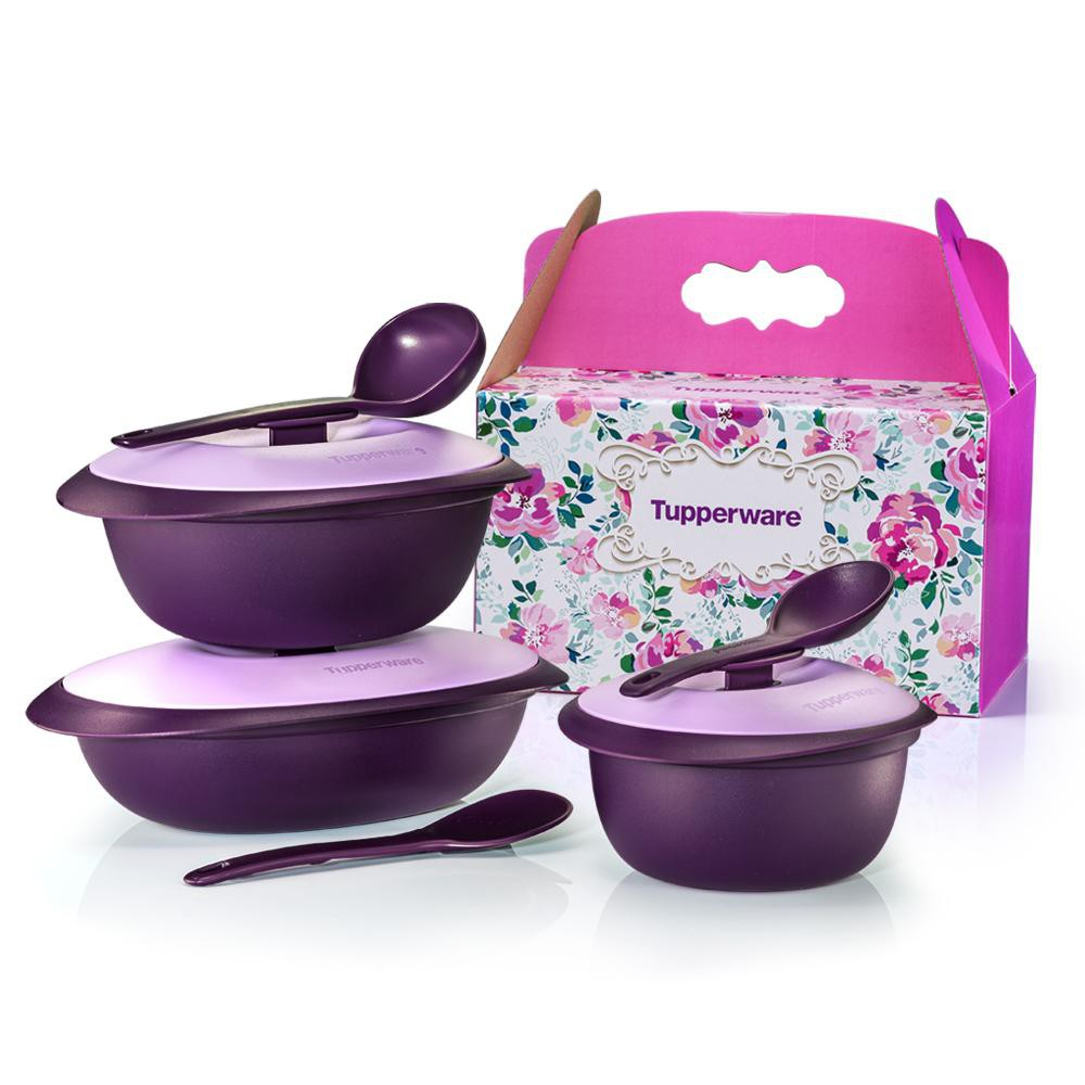 💥READY STOCK💥 Original Tupperware Purple Royale Serveware Blossom Microwaveable Serving Set