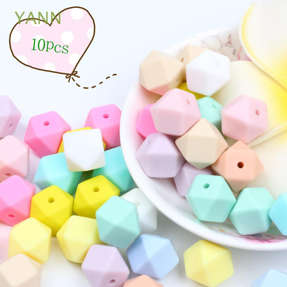 10Pcs 14mm Healthy Safety Hexagon Food Grade Bracelet Baby Teether