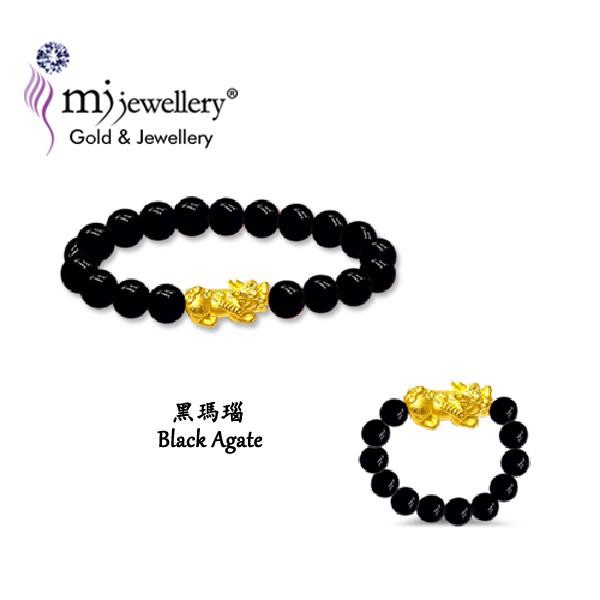 [CNY Bundle] MJ Jewellery 999/24K Pure Gold Agate Pixiu Bracelet + Rings