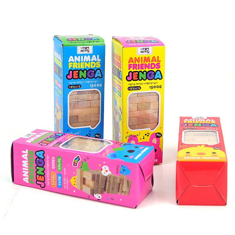 KOREAN ANIMAL FRIENDS  MINI JENGA WOODEN Blocks STACKO 48PCS (15CM) Educational Jenga Game Gift (Really stock)