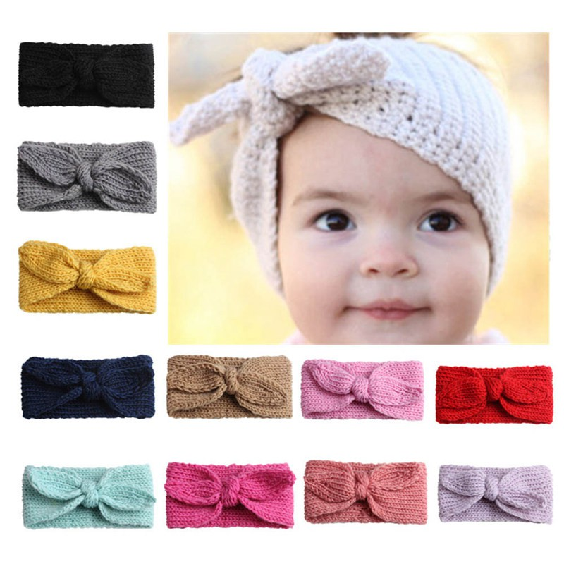 Newborn Baby Knit Headband Kids Girls Crochet Hair Band Winter Ear Hair Warm