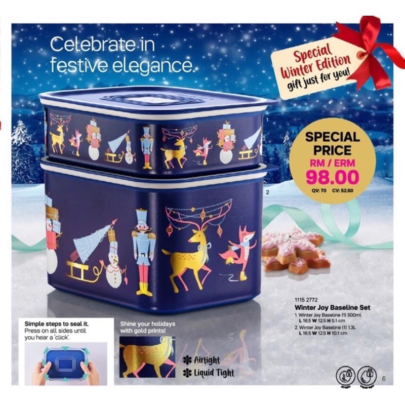 (Ready Stock) Tupperware Winter Joy Baseline Sets