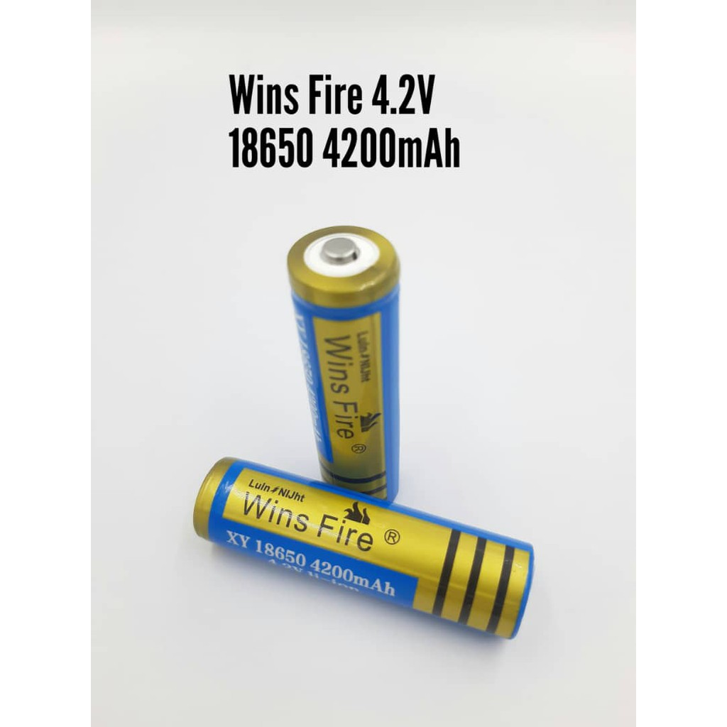 Wins Fire 4.2V 18650 4200MAH Lithium Ion Rechargeable Battery.