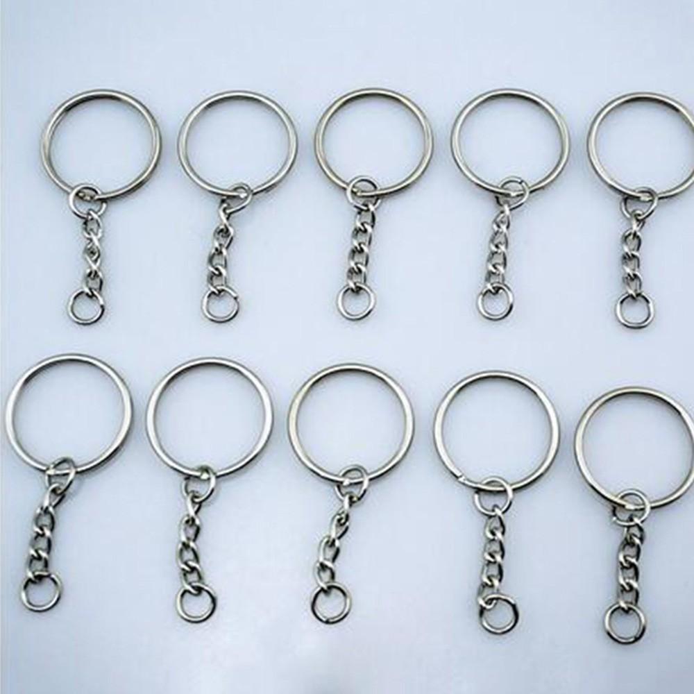 200pcs Silver Keyring Blanks Tone Key chains Key Split Rings 4 Link Chain