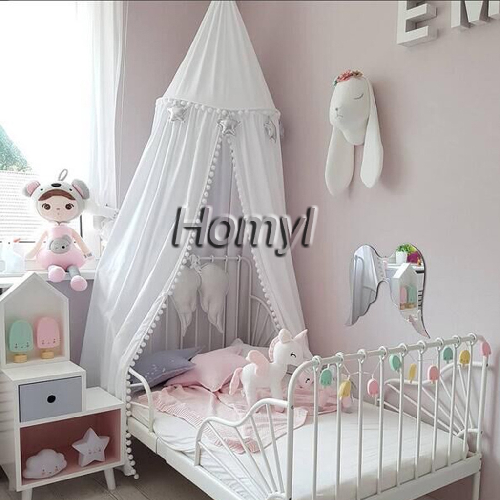 Baby Bedding Kamimi New Baby Room Hairball Tassel Home Decoration Lace Dome Bed Childrens Chiffon Petal Tent Ruffle Mosquito Net Mother & Kids