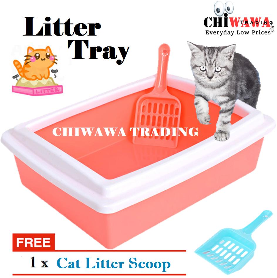 【Free : Plastic Shovel】Cat Kitten Hygienic Litter Sand Tray Toilet Box + Scoop