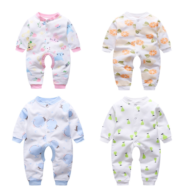 Baby Girl Jumpsuits Flower Cotton Romper Jumpsuits Long Sleeve Onesies with Hat for Footless Sleep and Play 66cm Beige