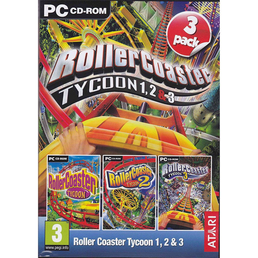 RollerCoaster Tycoon 1 / 2 / 3 Triple Pack Classis Offline with DVD - PC  Games