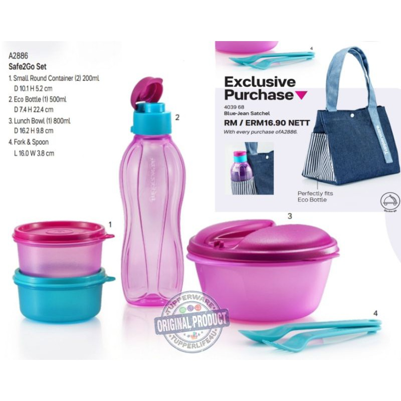 💥Ready Stock - Cat Jan 21💥Tupperware safe 2 go full set with or without Blu Jean bag
