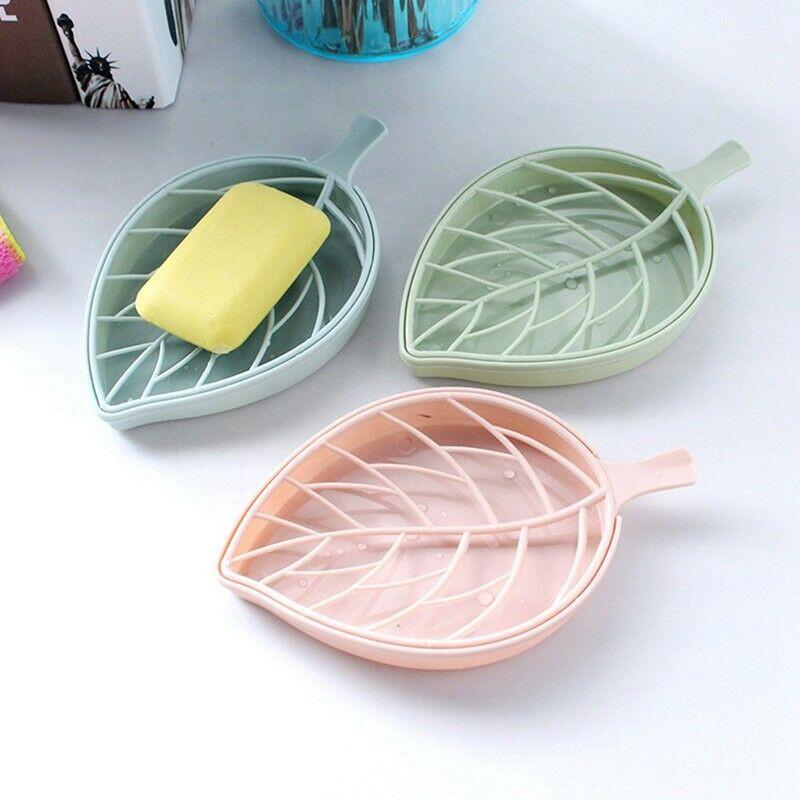 Bath Shower Holder Dish Hiking Container Soap Box Leaf Shape Case Home Organizer