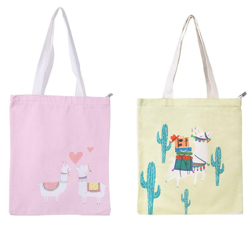 J Animal Canvas Reusable Tote Bag Women Ping Bags Book