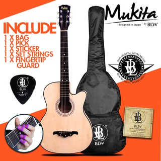 [READY STOCK!] Mukita by BLW Standard 38 Inch Basic Acoustic Guitar package