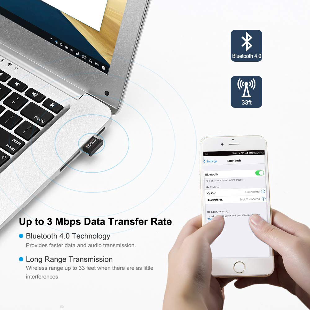 ZEXMTE Bluetooth USB Adapter CSR 4.0 USB Dongle Bluetooth Receiver Transfer Wire
