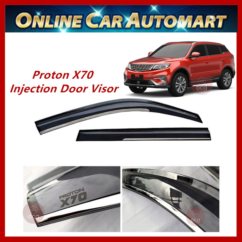 Proton X70 Injection Door Visor with Stainless Steel Chrome Lining (4Pcs)