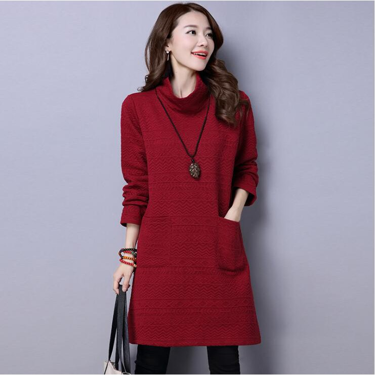 4af03f86998bc1 ProductImage. Women Fashion Loose Long Sleeve Midi Dress Casual Linen  Blouse Tops High Collar