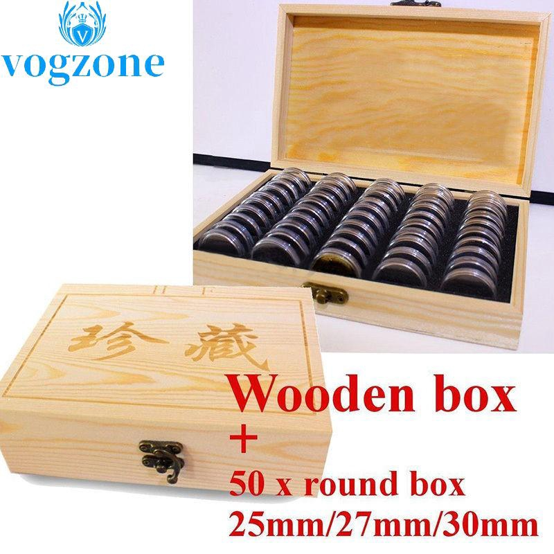 100pcs Round Wood Coins Display Storage Box Collectible Case For Certified Coin//
