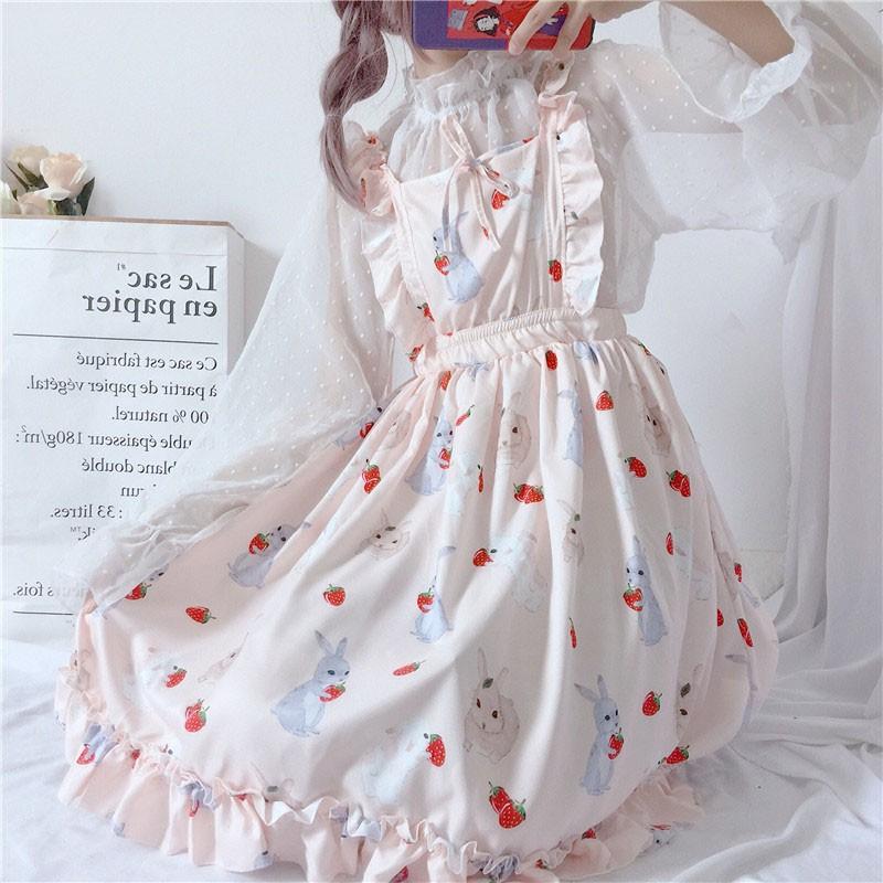 a3cd870e89443 Women Summer Strawberry Rabbit Print Female Cute Harajuku Cloth Kawaii Dress