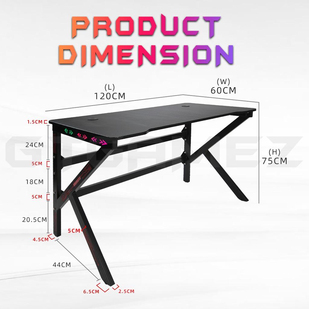 GTGAMEZ K Series LED Lighting Carbon Fiber E-sports RGB Gaming Table / Gaming Desk - HMZ-GT-JF-12060/14060-KL-BK-LED