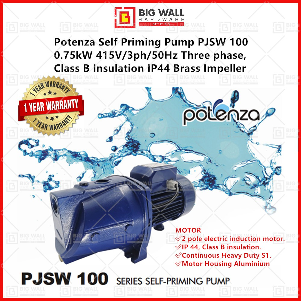 Potenza Self Priming Pump PJSW 100 0.75kW 415V/3ph/50Hz Class B Insulation IP44 Brass Impeller with Pressure Controller