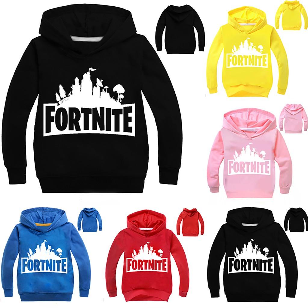 Fortnite Logo Boys Black Hooded Long Sleeve Hoodie