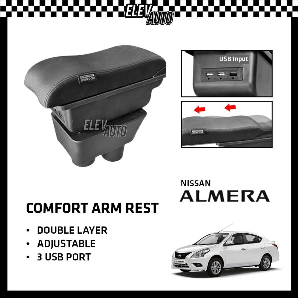 Nissan Almera Premium Leather Arm Rest ArmRest Double Layer Adjustable (3 USB)