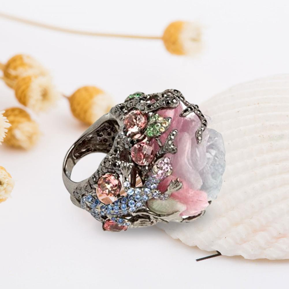 Turkish Handmade Jewelry 18K Black Gold Multi-Color Gemstone Ring Wedding Sz6-10