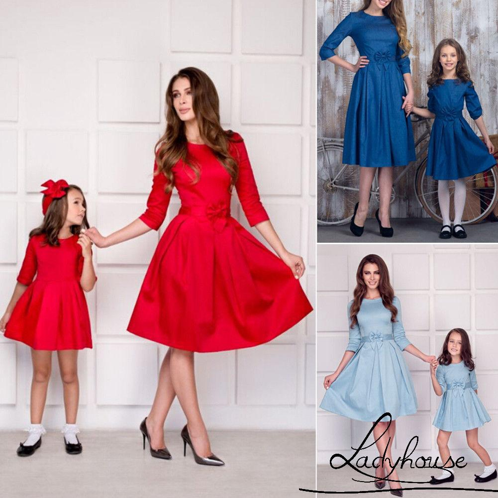0.8-Family Dress Mother and Daughter Matching Women Girl Casual Half Sleeve
