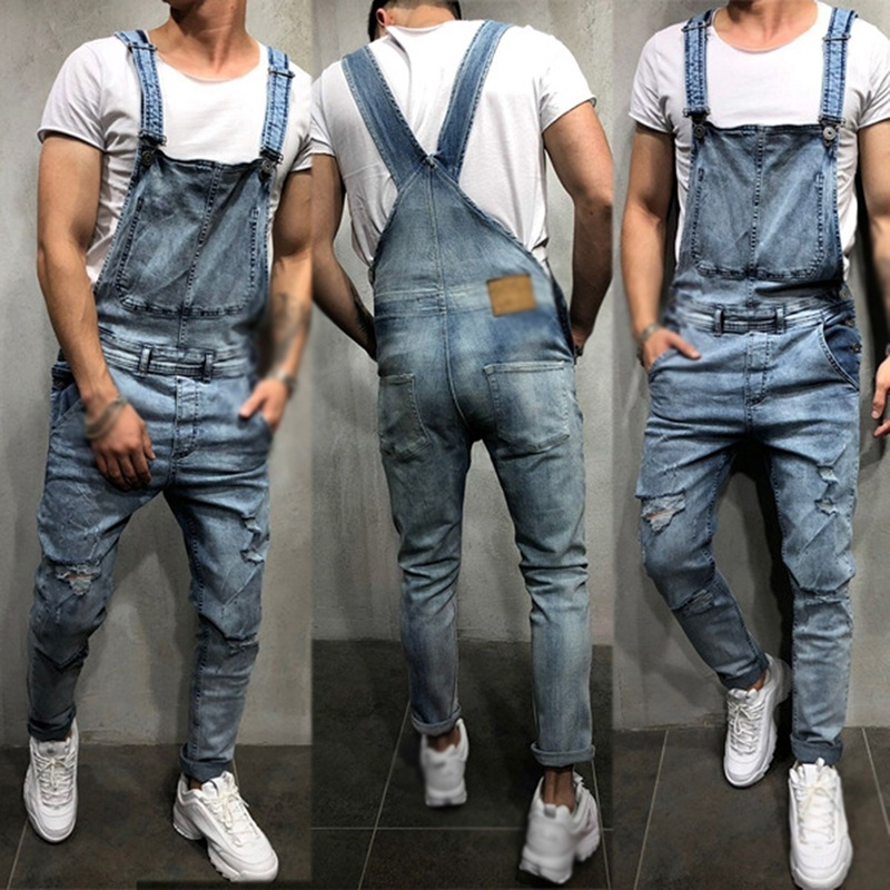 1pc Men Fashion Ripped Jeans Jumpsuits Street Distressed Denim Overalls Suspender Pants Shopee Malaysia