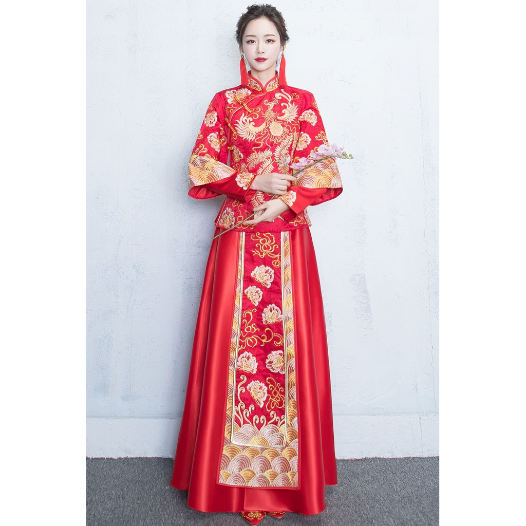 392d45ae8 BEAUNIQUE Chinese Wedding Dress Qipao Longfeng Gua Phoenix Gold | Shopee  Malaysia