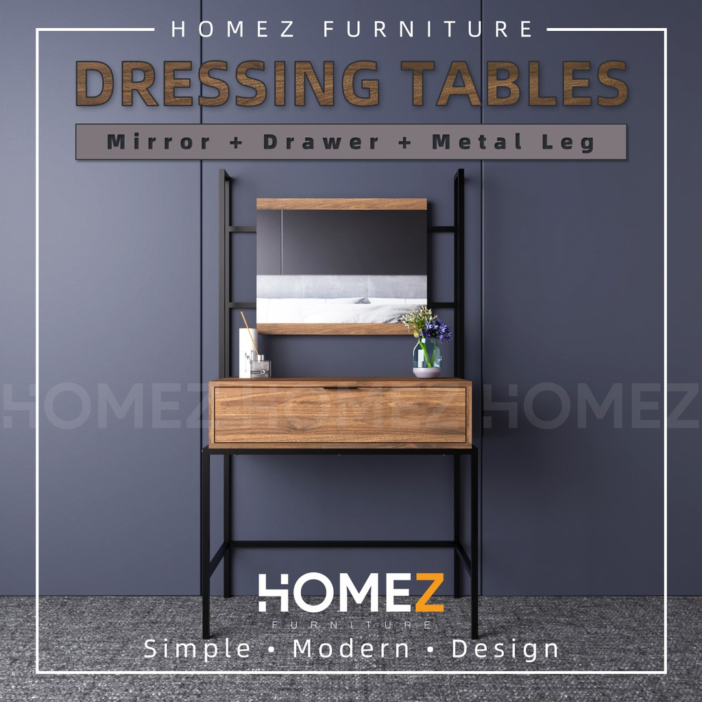 KitchenZ Noble 3Ft Dressing Table Modernist Design Solid Board With Mirror Makeup Table/ Meja Solek - HMZ-FN-DT-NB005-CN