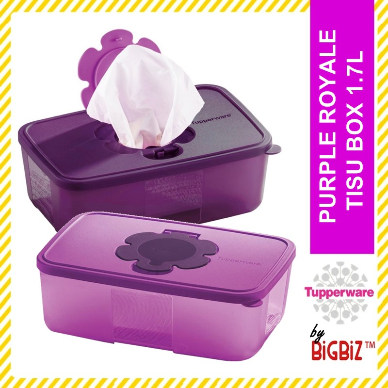 Original TUPPERWARE Purple Royale Tissue Box 1.7L / Bekas Tissue Raya [ Ready Stock ]