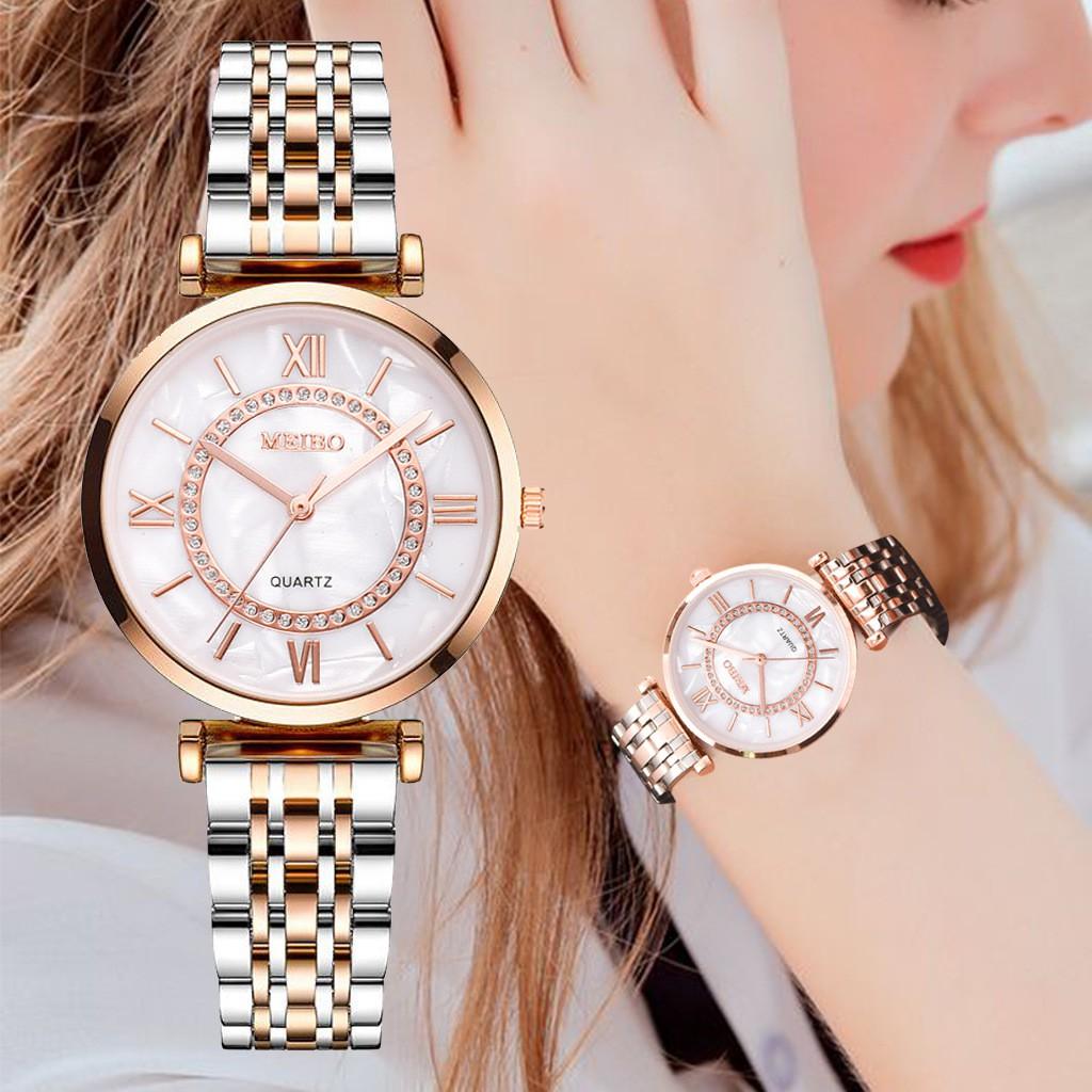 Jam Tangan Wanita Temperament Elegant Ladies Steel Band Watch Gold Fashion W00124