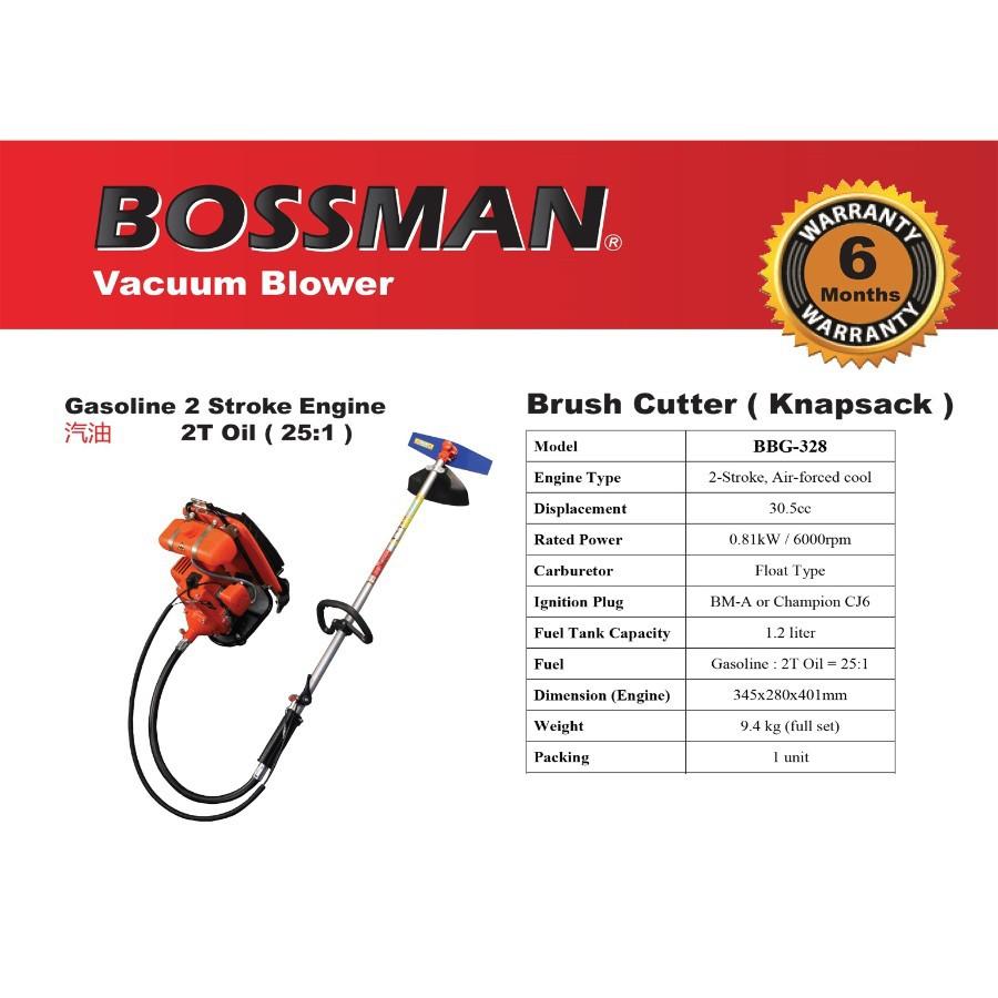 BOSSMAN Petrol Brush Cutter Knapsack Gasoline 2 Stroke Engine Backpack  BBG-328