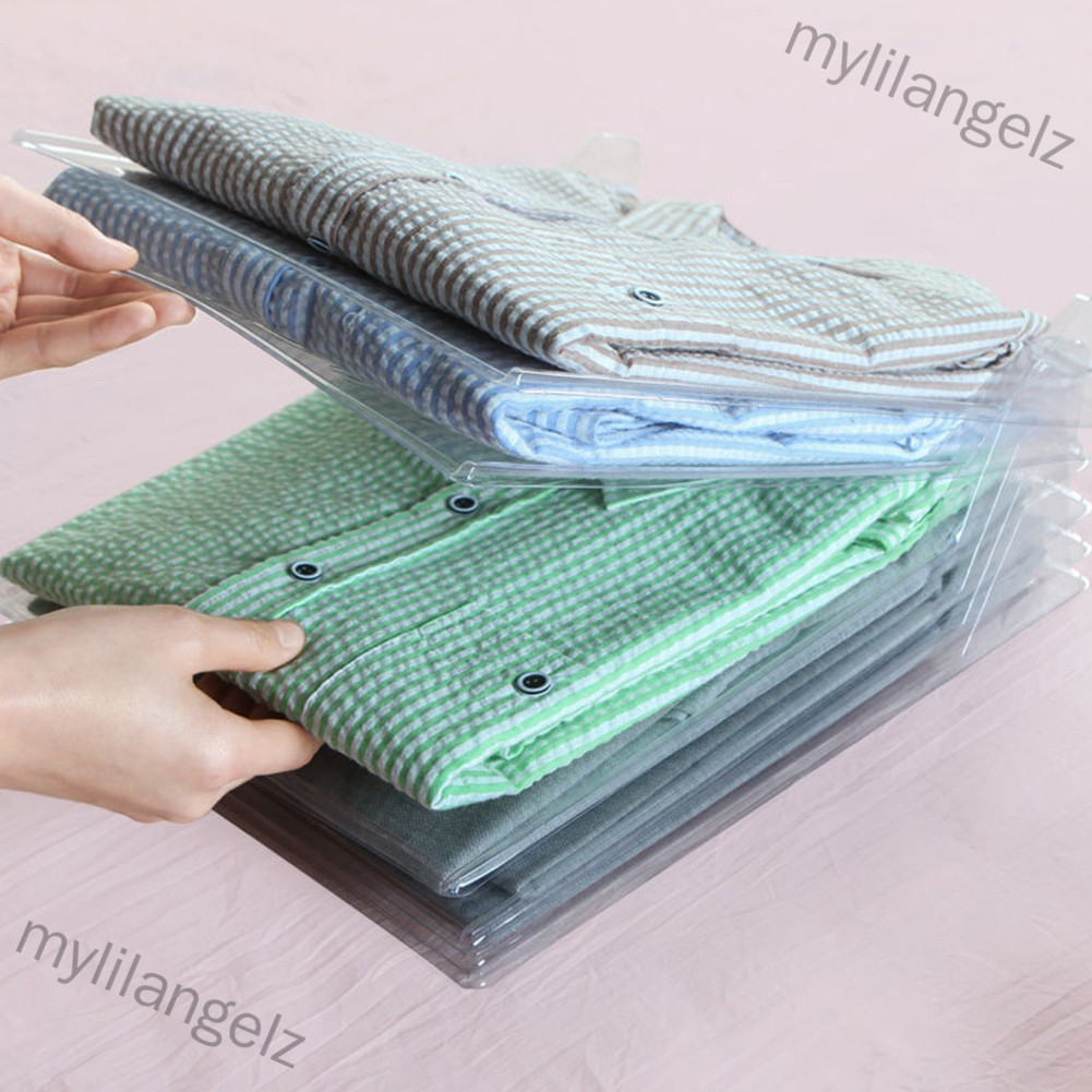 Mylilangelz 10Pcs/Set Transparent Household Fast Clothes Fold Board Closet Drawer Stack Organizer (READY STOCK)