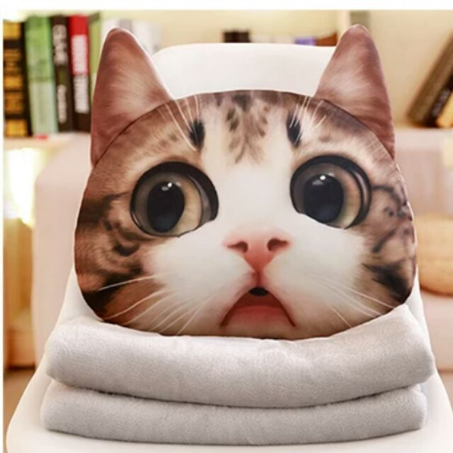 Cat plush pillow with blanket