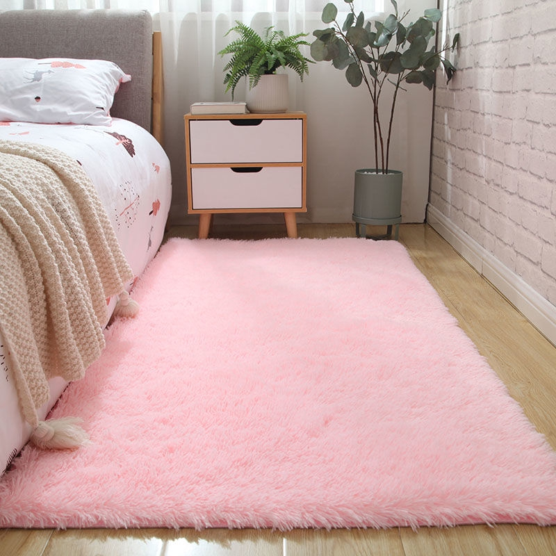 Carpet Girl Cute Pink Plush Rug Multi Color Bedroom Bedside Mat Shopee Malaysia