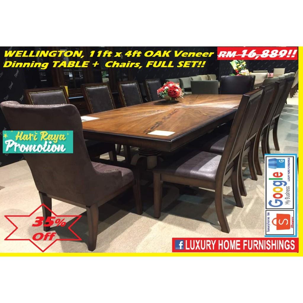 Wellington,  Solid Oak Veneer SERIES, 1 +10 dinning SET,  FACTORY DIRECT OFFER!! EXPORT TO USA!! RM 16,889!! 35% Off!
