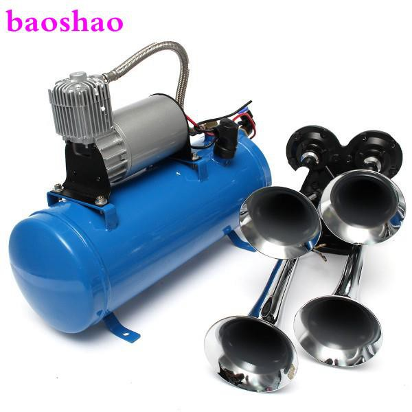 Air Horn Compressor >> 2019 New 4 Trumpet Vehicle Air Horn 12v 24v Compressor Tubing 150 Db Train 120 P